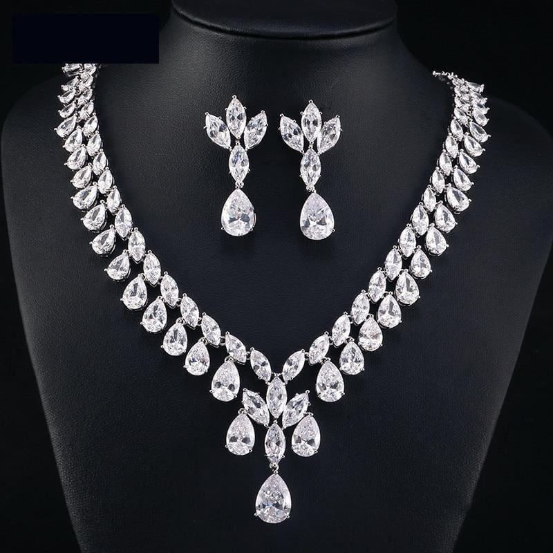Cubic Zirconia Earrings And Necklace Jewelry Bridal Formal Jewelry Sets - jewelry set