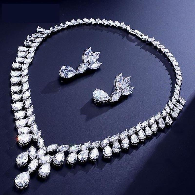 Cubic Zirconia Earrings And Necklace Jewelry Bridal Formal Jewelry Sets - White - jewelry set