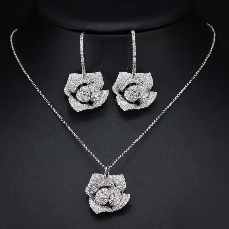 Cubic Zirconia Flower Drop Pendant Necklace And Earrings Jewelry Set - Jewelry set