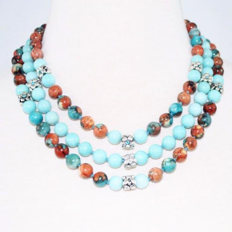 Custom Handmade Amazonite Gemstone Three Strands Beaded Necklace - TeresaCollections