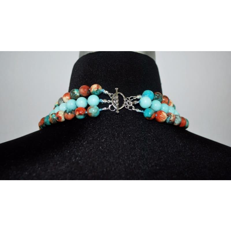 Custom Handmade Amazonite Gemstone Three Strands Beaded Necklace - Handmade