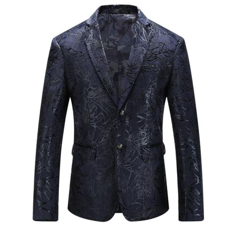 Dark Blue Vintage Prints Mens Floral Blazer Jackets - As Picture / 4XL - mens jackets