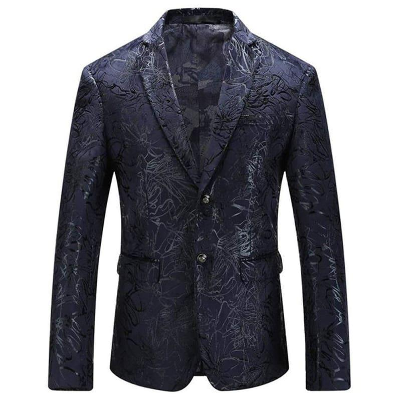 Dark Blue Vintage Prints Mens Floral Blazer Jackets - mens jackets