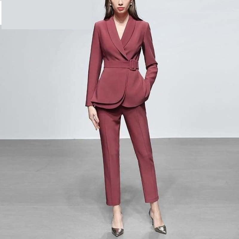 Dark Pink Two Piece Set Women Solid Printed Slim Coat+Pants Suit Long Sleeve Office Wear Outfit Suits - Dark Pink / S - Suits