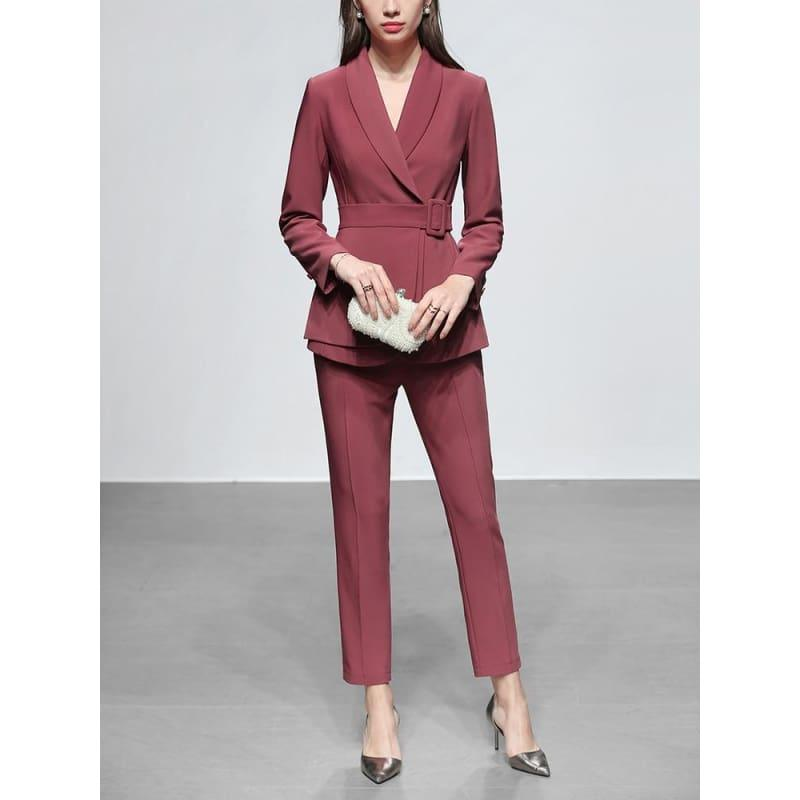 Dark Pink Two Piece Set Women Solid Printed Slim Coat+Pants Suit Long Sleeve Office Wear Outfit Suits - Suits