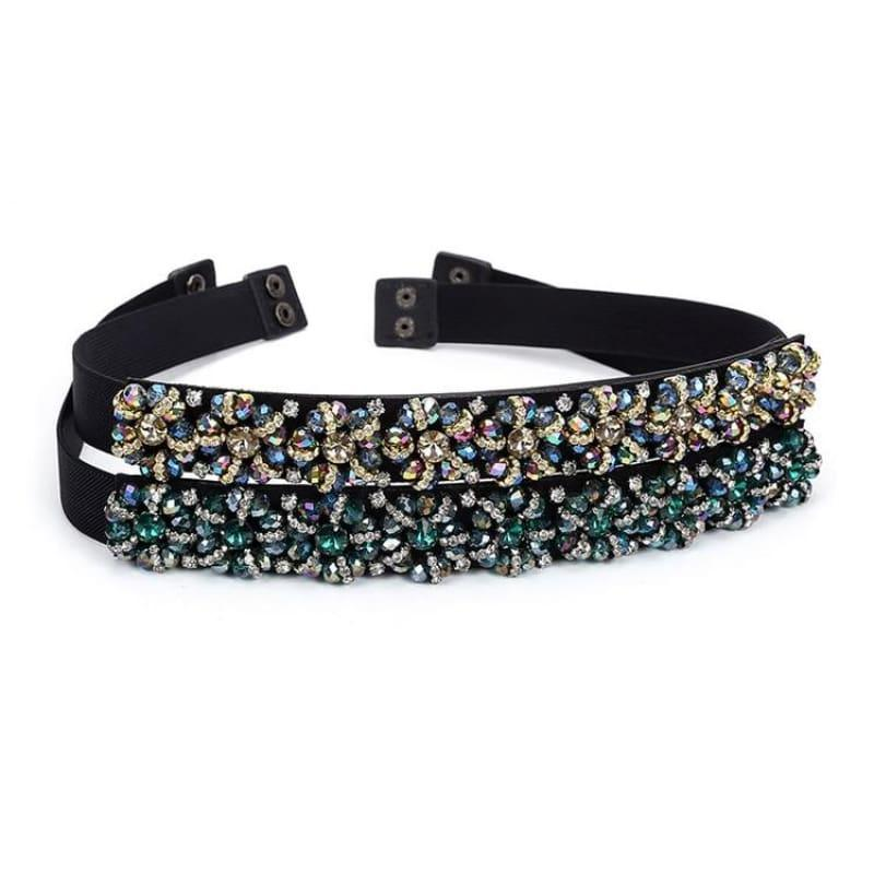Designer Luxury Crystal Elastic with rhinestone Elegant Belt - Belt