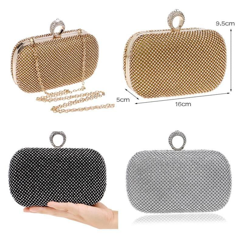 Diamond-Studded Evening Clutch Bag - Clutch