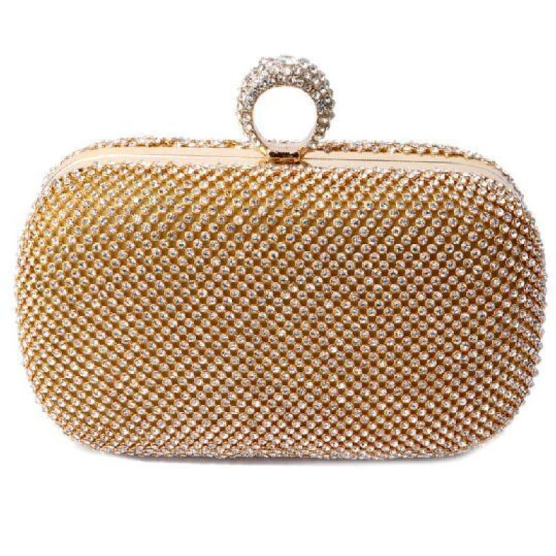 Diamond-Studded Evening Clutch Bag - YM1000Gold - Clutch