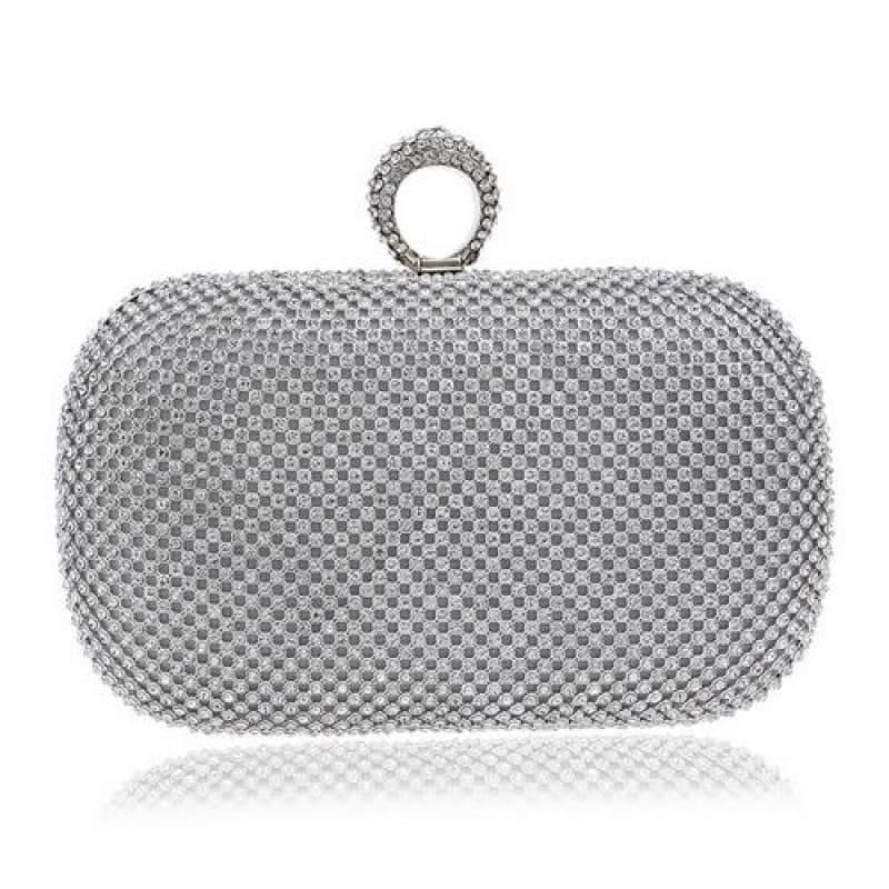 Diamond-Studded Evening Clutch Bag - YM1000silver - Clutch