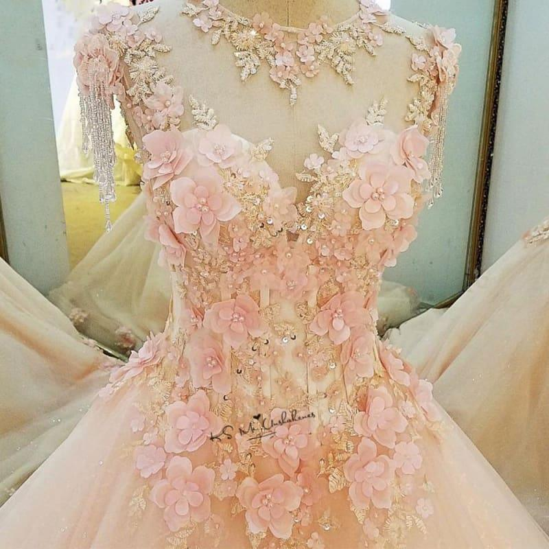 Diamond Tulle Vintage Pearls Flowers Pink Custom Made Princess Dress - TeresaCollections