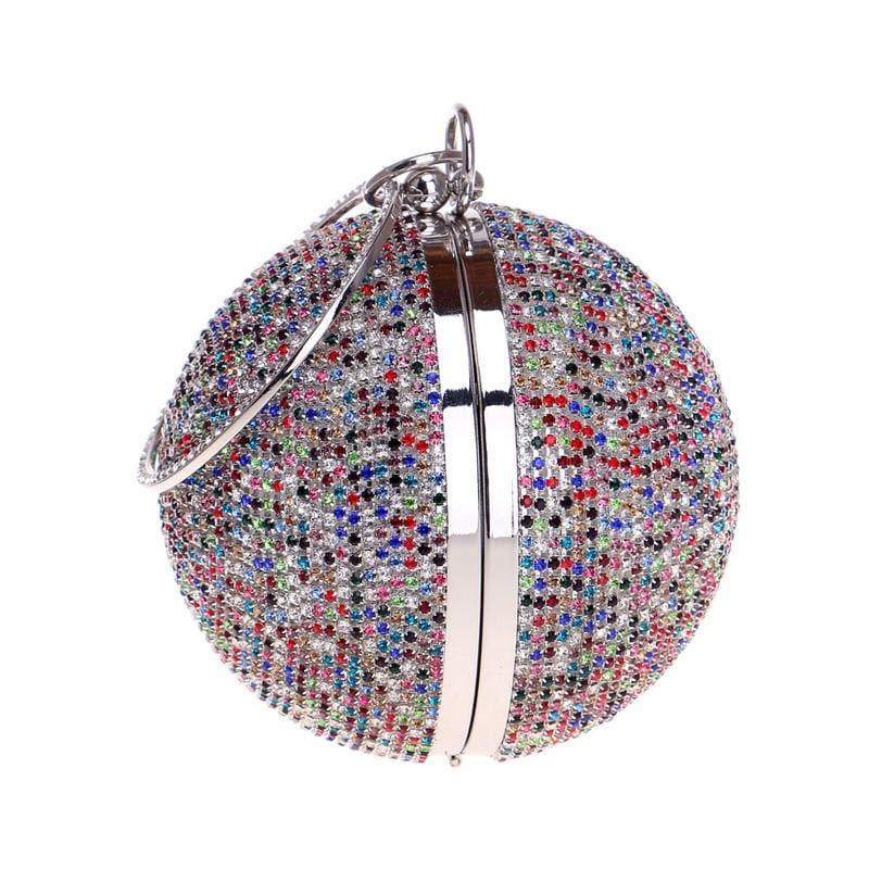Diamonds Colorful Lady Round Shaped Evening Clutch Bag - Clutch