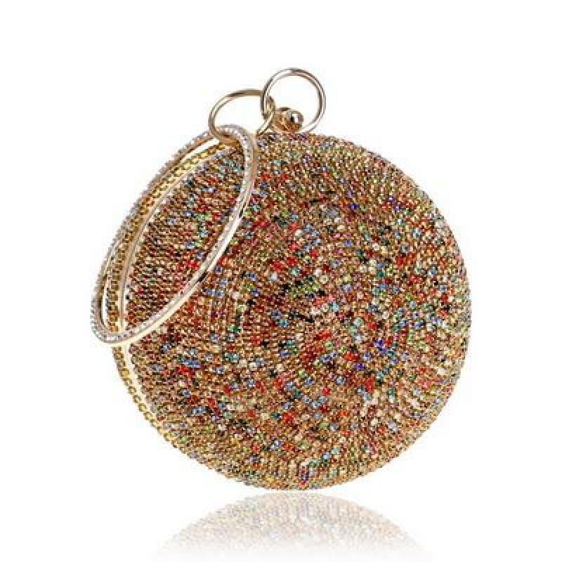 Diamonds Colorful Lady Round Shaped Evening Clutch Bag - YM8105goldcolor - Clutch