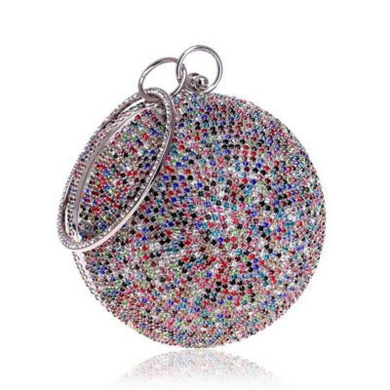 Diamonds Colorful Lady Round Shaped Evening Clutch Bag - YM8105silvercolor - Clutch
