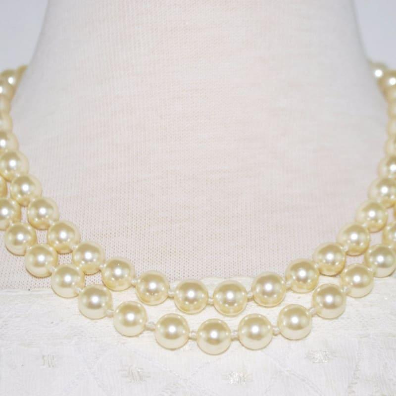 Double Strands Elegant Cream Color Shell Beaded Necklace - Handmade