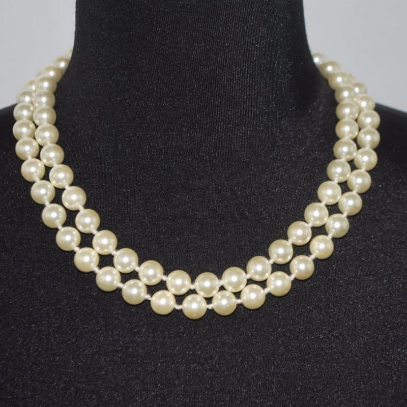 Double Strands Elegant Cream Color Shell Beaded Necklace - TeresaCollections