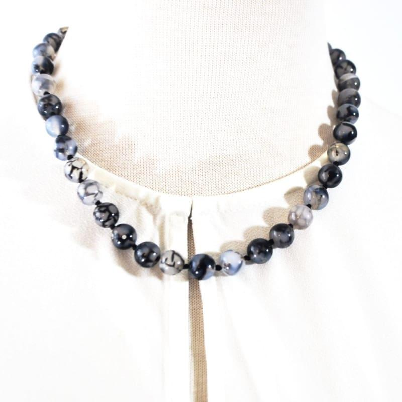 Dragon Eye Agate Beaded Necklace - Handmade