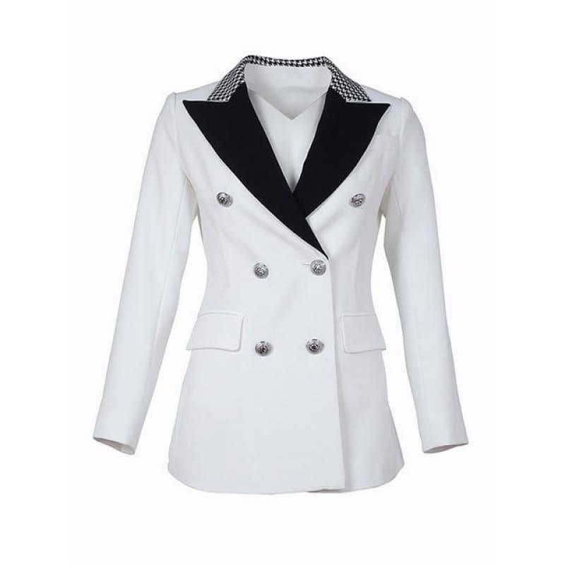 Elegant Black and White Double Breasted Women Tuxedo Blazer Jackets - WHITE / S - Jackets