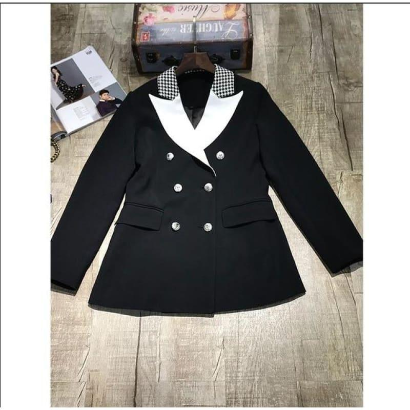 Elegant Black and White Double Breasted Women Tuxedo Blazer Jackets - Black / S - Jackets