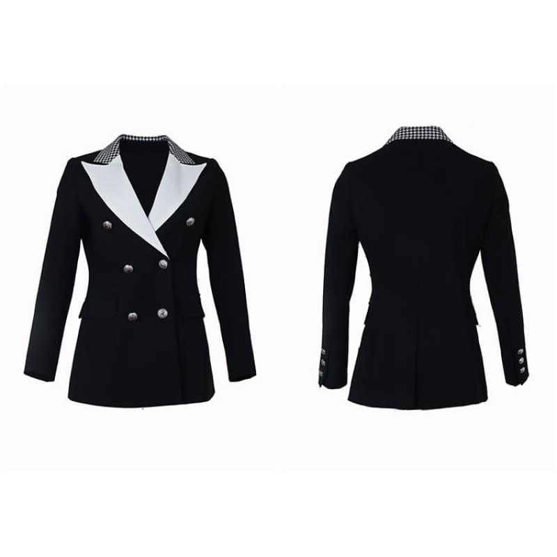 Elegant Black and White Double Breasted Women Tuxedo Blazer Jackets - Jackets