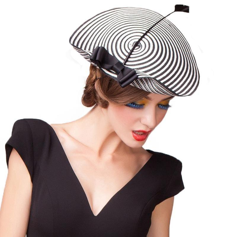 Elegant Black White Striped Cupid Arrow Pillbox Vintage Cocktail Church Fedoras Fascinator Hats - hats