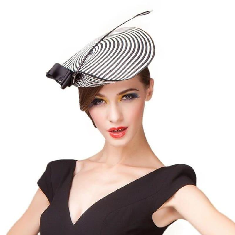 Elegant Black White Striped Cupid Arrow Pillbox Vintage Cocktail Church Fedoras Fascinator Hats - Black - hats