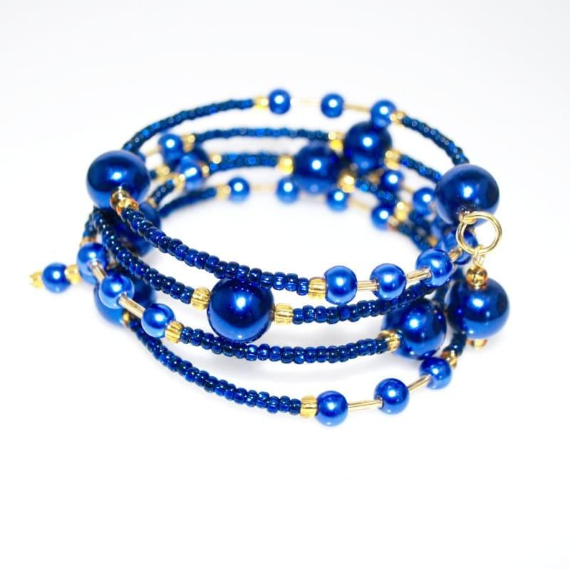 Elegant Blue Glass Pearls / Sapphire And Gold Ascent Wrap Around Bracelets - TeresaCollections