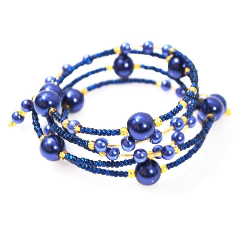 Elegant Blue Glass Pearls / Sapphire And Gold Ascent Wrap Around Bracelets - Handmade