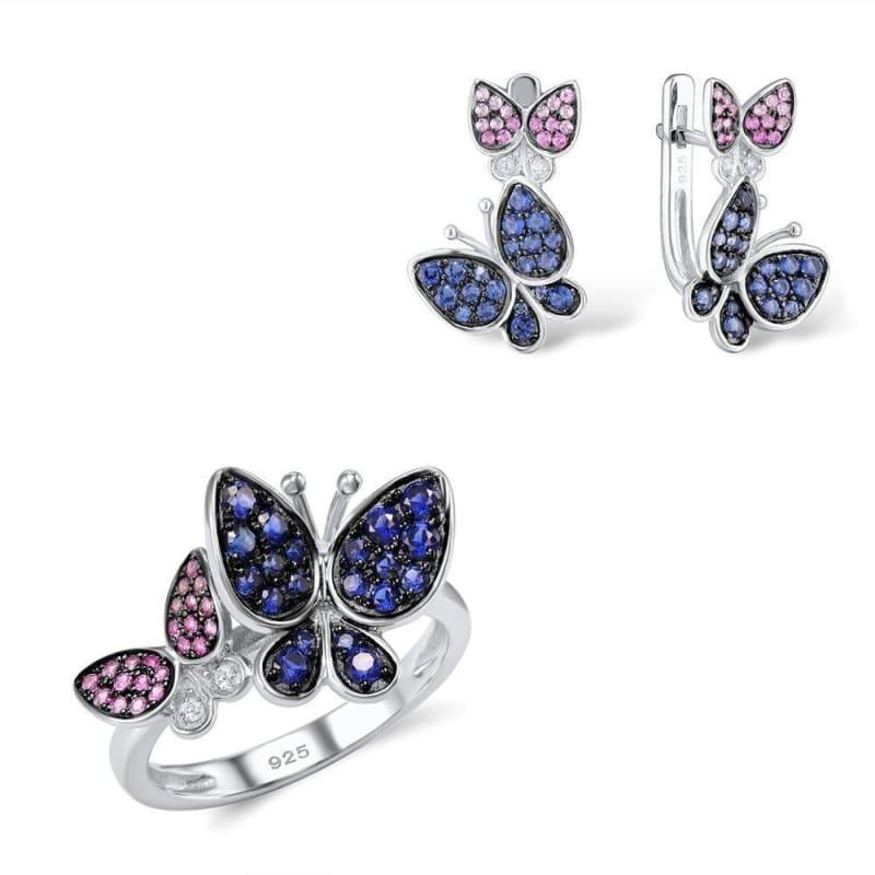 Elegant Blue Pink Stones Butterfly Earrings Ring Set 925 Sterling Silver Chic Jewelry Set - 6 - Jewelry Set