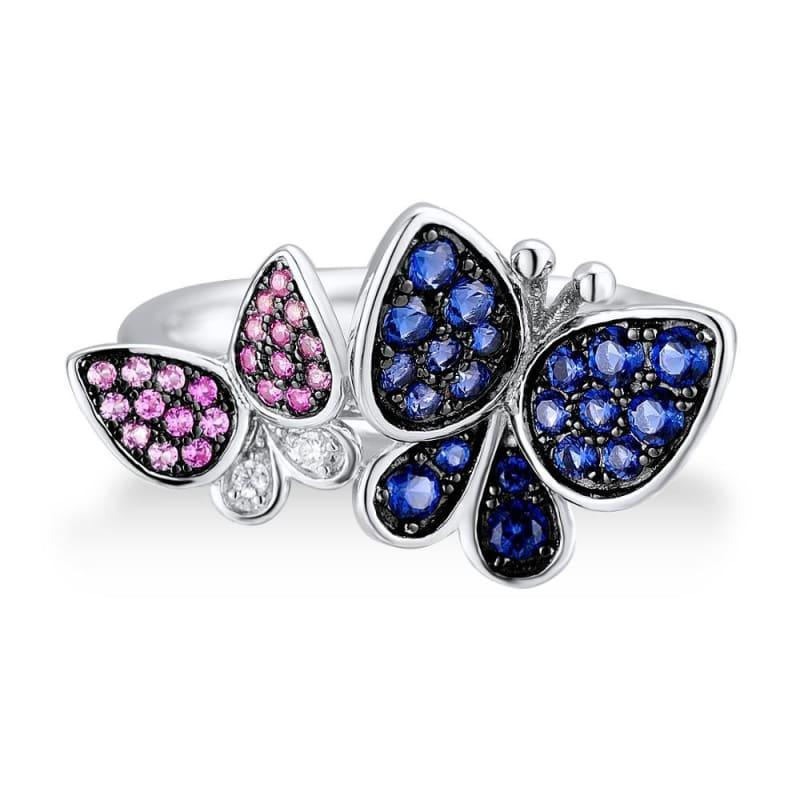 Elegant Blue Pink Stones Butterfly Earrings Ring Set 925 Sterling Silver Chic Jewelry Set - Jewelry Set
