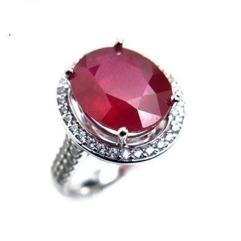Elegant Engagement Ring with Natural Ruby 925 sterling Silver Gemstone RING - 6 / Ruby - RINGS
