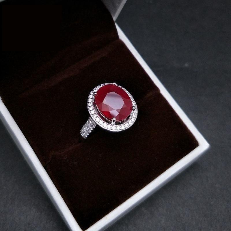 Elegant Engagement Ring with Natural Ruby 925 sterling Silver Gemstone RING - RINGS