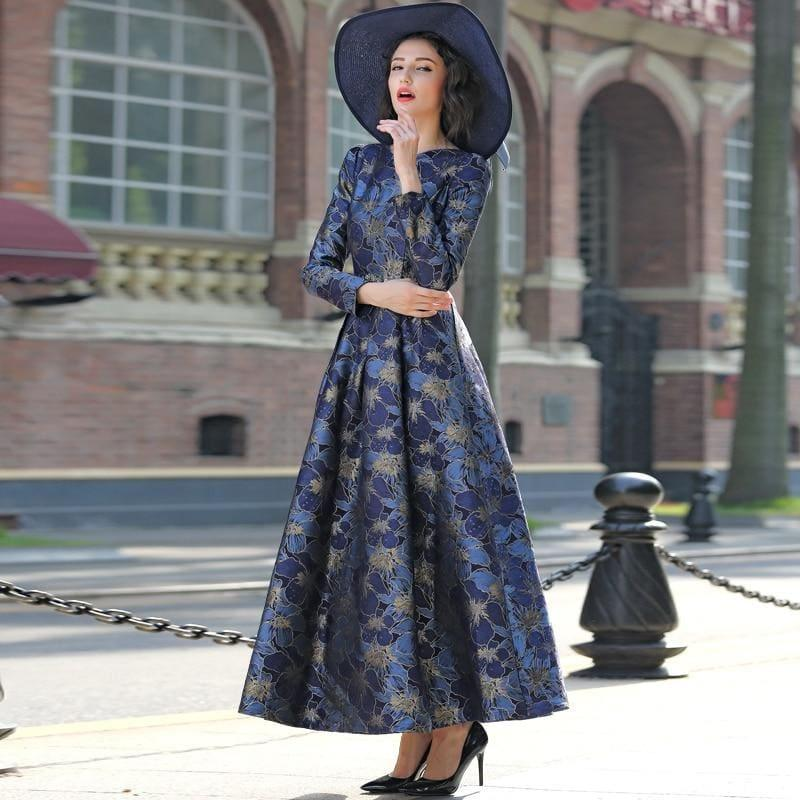 Elegant Gold Jacquard Maxi Dress Fall V neck Long Sleeve Formal Maxi Dress - gown
