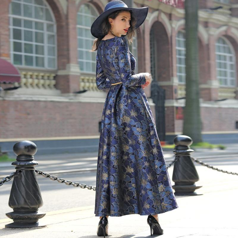 Elegant Gold Jacquard Maxi Dress Fall V neck Long Sleeve Formal Maxi Dress - TeresaCollections