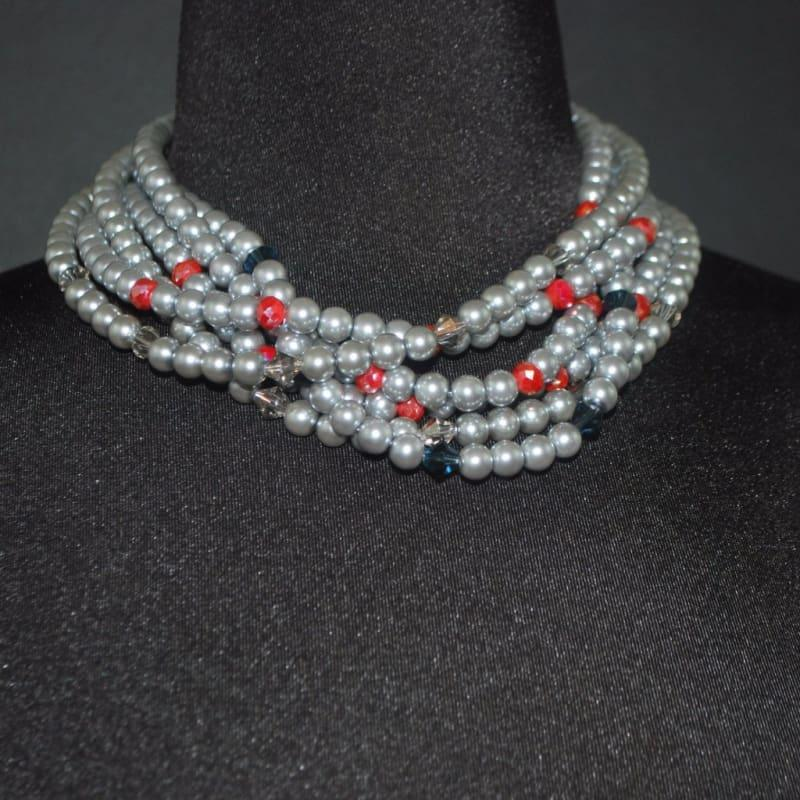 Elegant Gray Multi Strand Glass Pearls Necklace - TeresaCollections