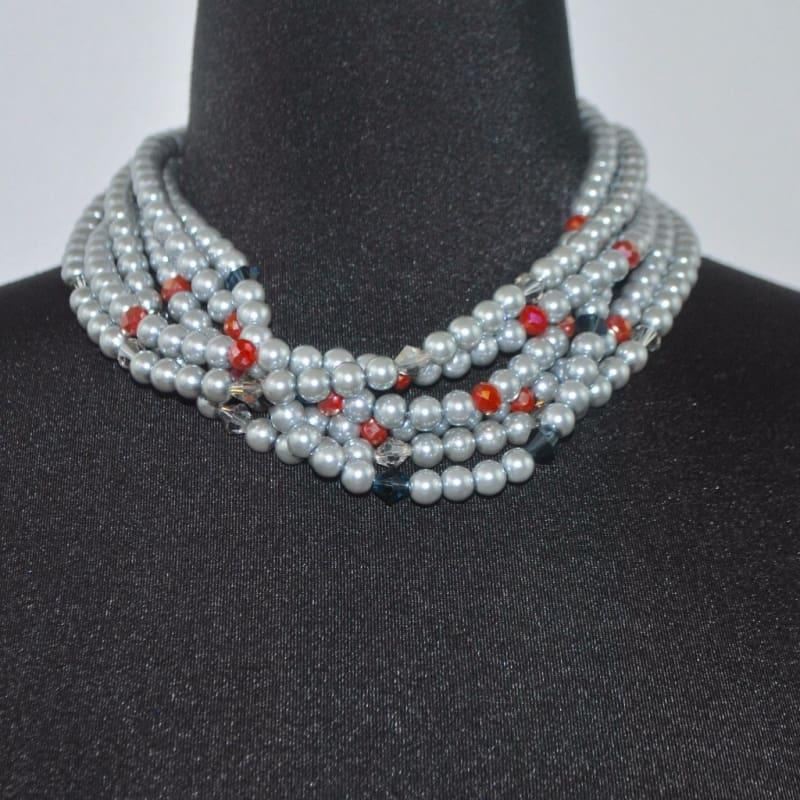 Elegant Gray Multi Strand Glass Pearls Necklace - Handmade