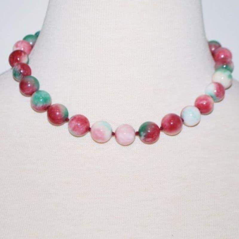 Elegant Green And Red Jade Necklace - Handmade