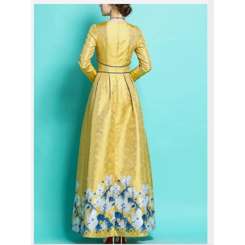 Elegant Luxury Jacquard Vintage Retro Long Sleeve Slim Maxi Dress - Maxi Dress