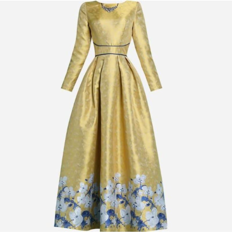 Elegant Luxury Jacquard Vintage Retro Long Sleeve Slim Maxi Dress - YELLOW / S - Maxi Dress