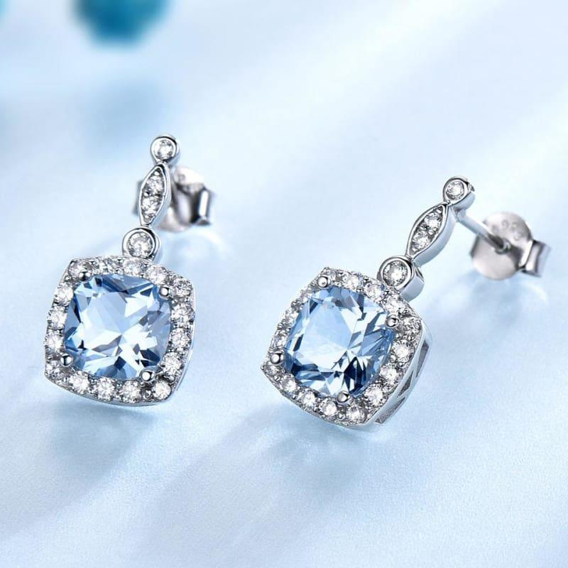 Elegant Nano Sky Blue Topaz 925 Sterling Silver Ring Pendant Stud Earrings Jewelry Set - Jewelry set