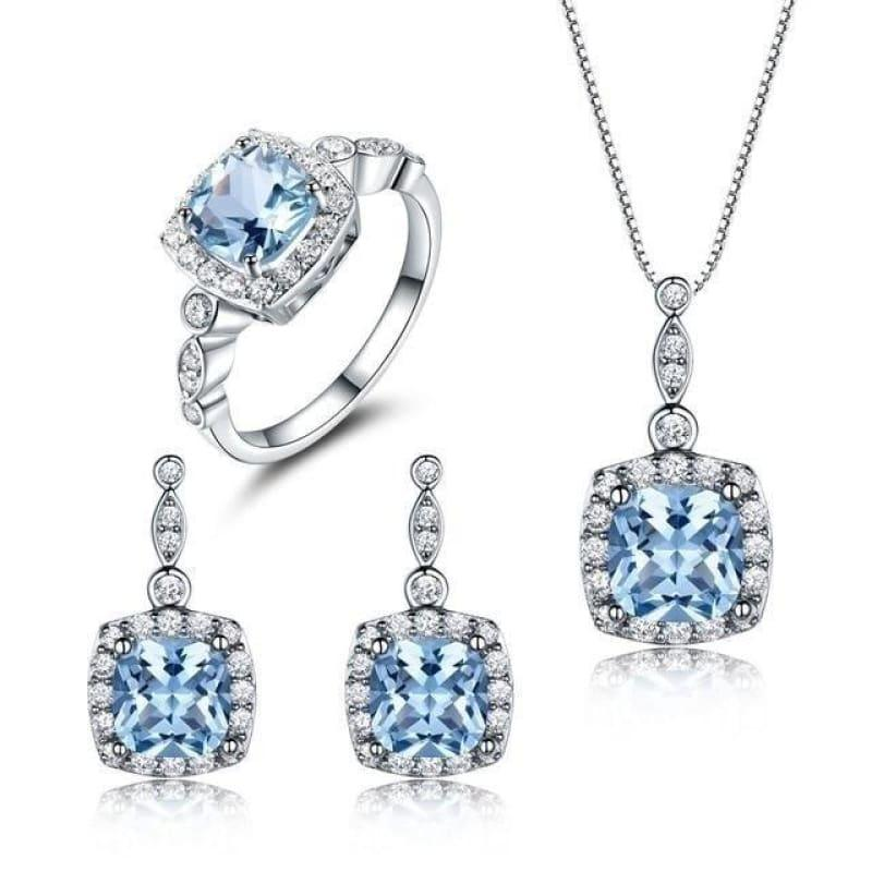 Elegant Nano Sky Blue Topaz 925 Sterling Silver Ring Pendant Stud Earrings Jewelry Set - S004B-1 / 10 - Jewelry set