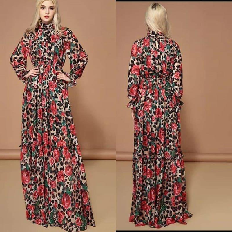 Elegant Rose Floral Leopard Print Long Maxi Dress - TeresaCollections