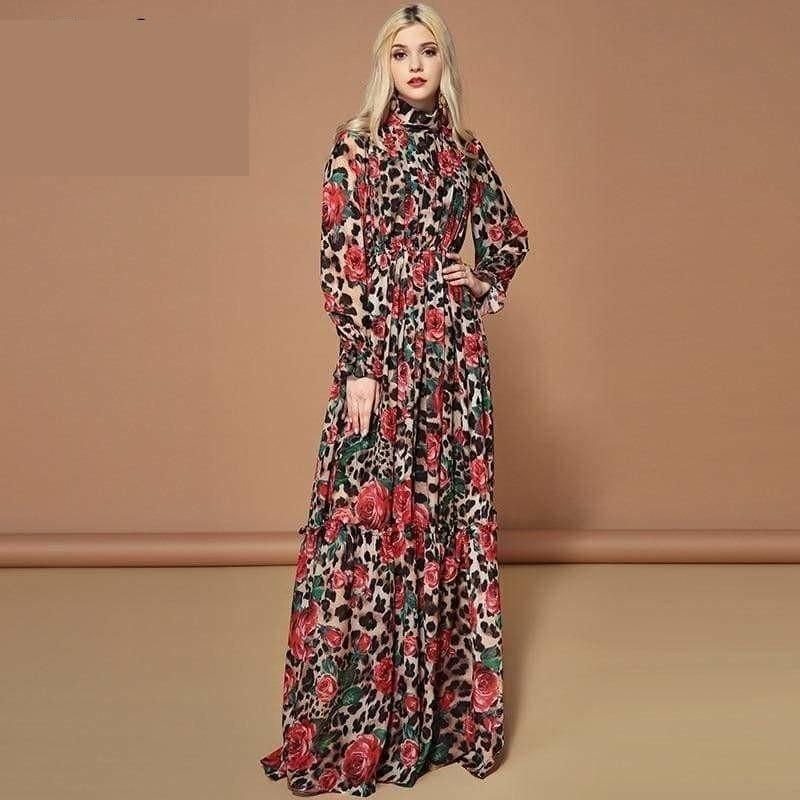 Elegant Rose Floral Leopard Print Long Maxi Dress - Gown