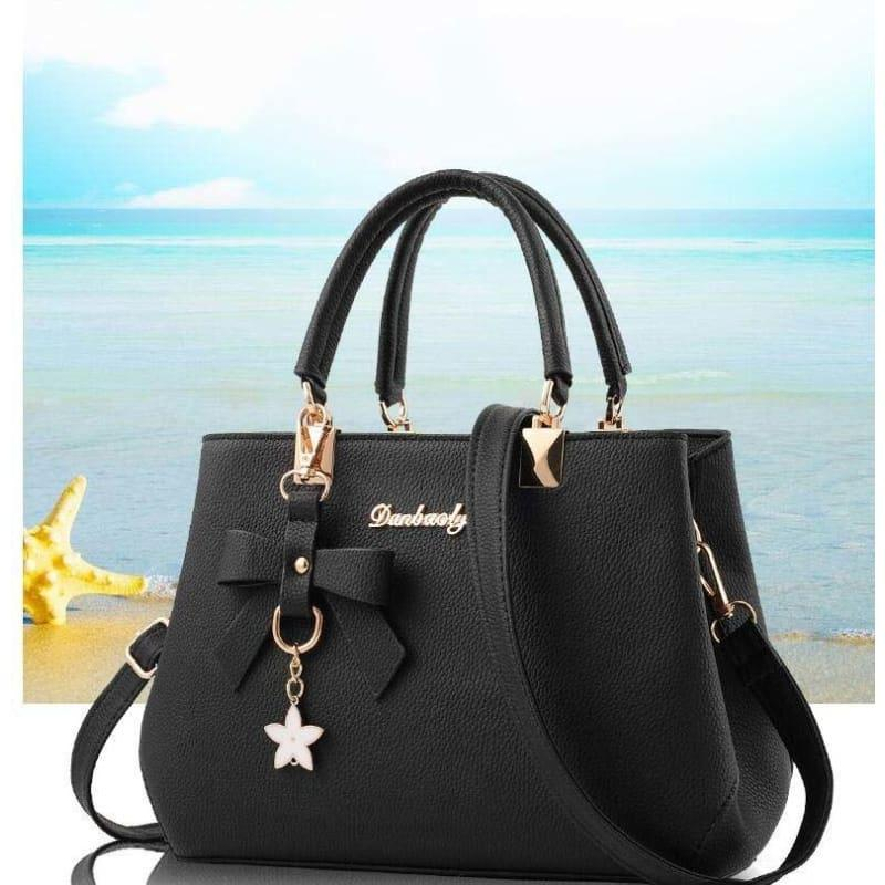 Elegant Shoulder Bag Women Designer Luxury HandBag - black - HandBag