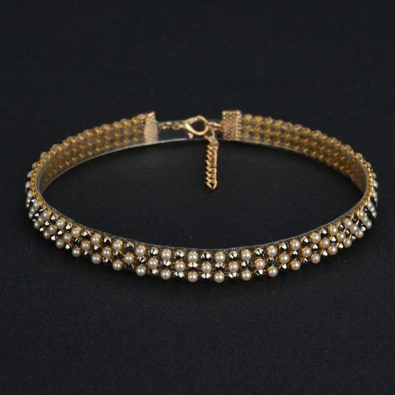 Elegant Wide Crystal Rhinestone Choker Necklace - 01 1