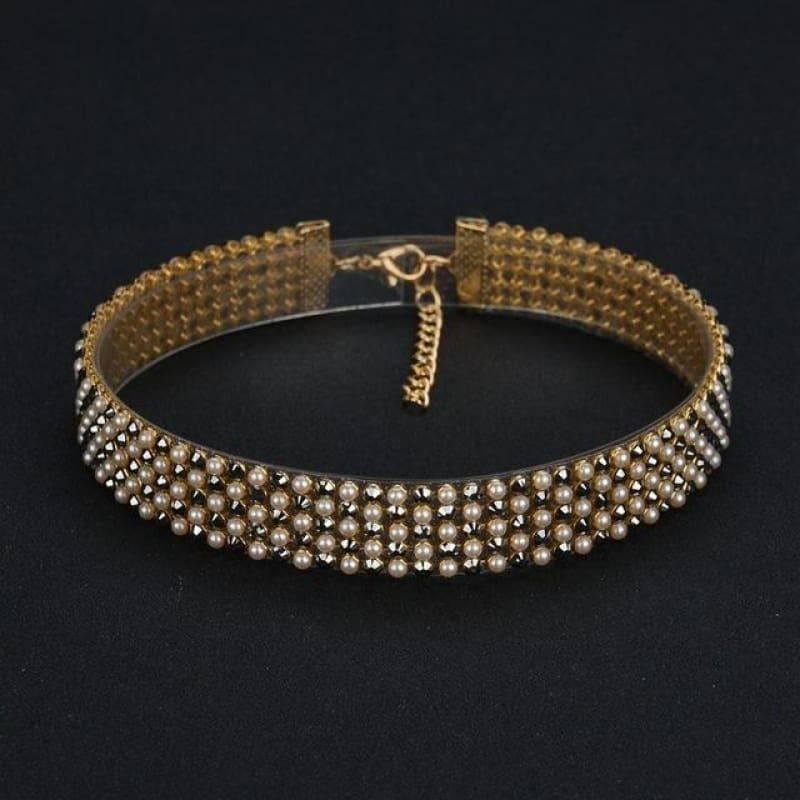 Elegant Wide Crystal Rhinestone Choker Necklace - 02 1