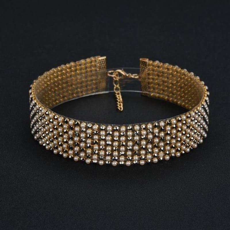 Elegant Wide Crystal Rhinestone Choker Necklace - 03 1