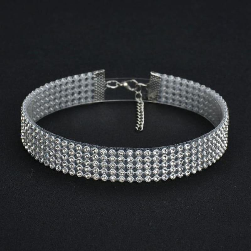 Elegant Wide Crystal Rhinestone Choker Necklace - 2