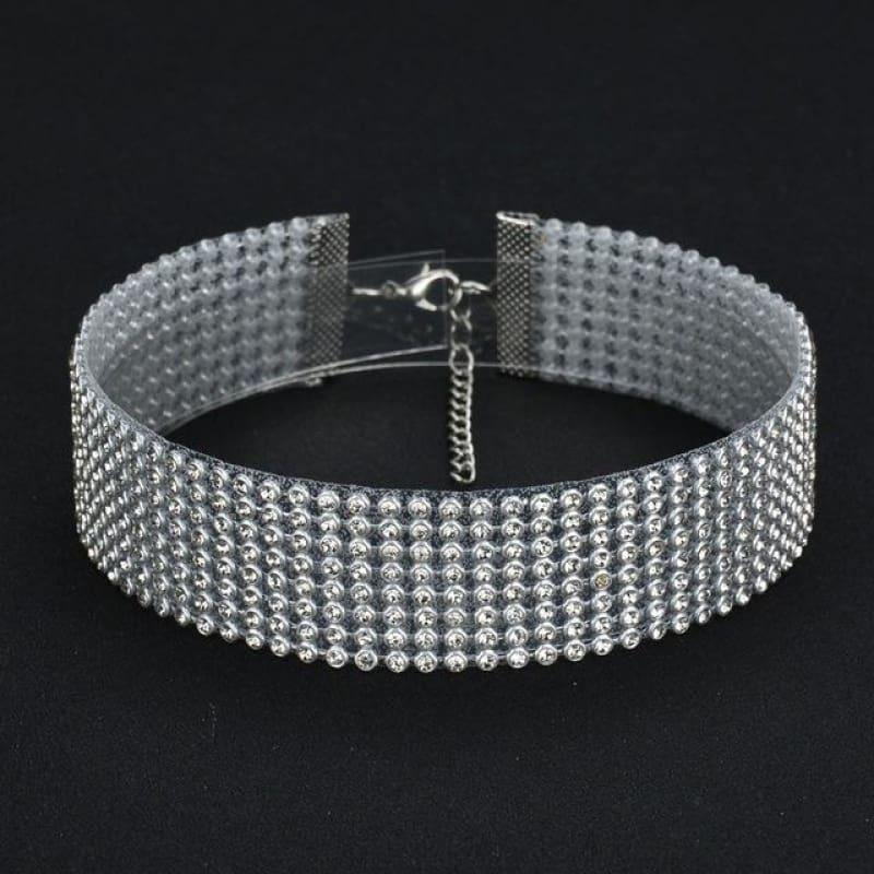 Elegant Wide Crystal Rhinestone Choker Necklace - 3