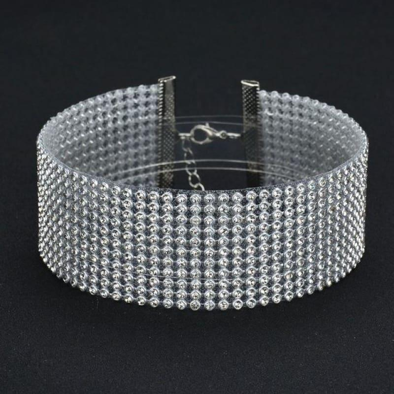 Elegant Wide Crystal Rhinestone Choker Necklace - 4