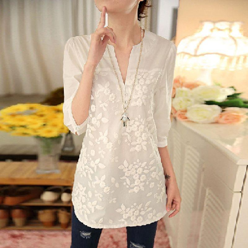Embroidered V-neck Organza Three Quarter Sleeve Blouse - TeresaCollections